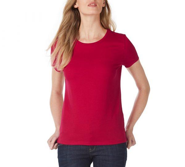 Rood dames t-shirt ontwerpen en bedrukken