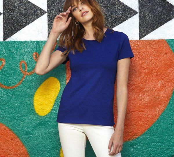 Blauw dames t-shirt ontwerpen en bedrukken