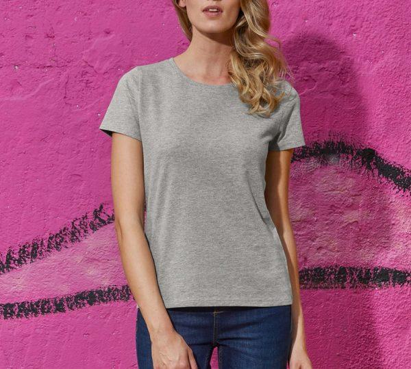 Grijs dames t-shirt ontwerpen en bedrukken