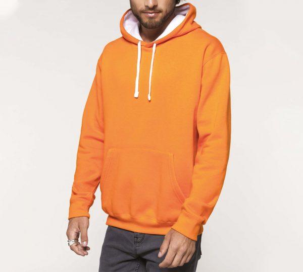 Tweekleurige heren hoodie ontwerpen en bedrukken