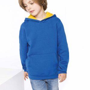 blauwgele kinderhoodie ontwerpen en bedrukken