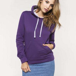 Tweekleurige dames hoodie ontwerpen en bedrukken