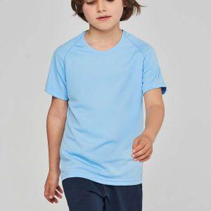 blauw kinder sportshirt ontwerpen en bedrukken