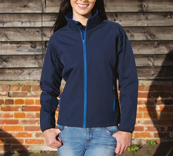 navy blauwe softshell jas ontwerpen en bedrukken dames