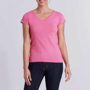 Dames v-hals t shirt ontwerpen en bedrukken